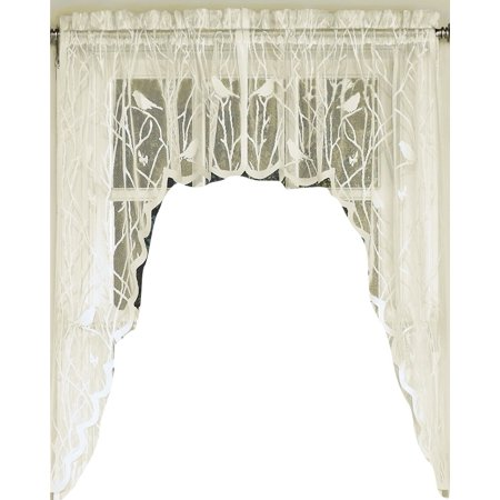 Songbird Lace Ivory kitchen curtain Swag