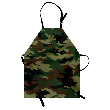 Como Kitchen - Camo Apron Fashionable Graphic Uniform Inspired Camouflage Clothing Design, Unisex Kitchen Bib Apron with Adjustable Neck for Cooking Baking Gardening, Forest Green Pale Green Brown, by Ambesonne