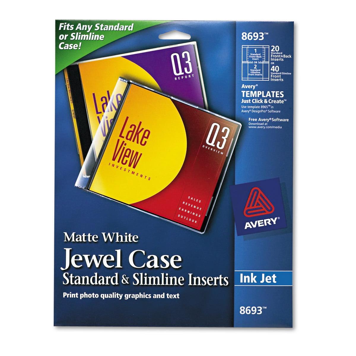 Avery Inkjet CD/DVD Jewel Case Inserts, Matte White, 20/Pack ...