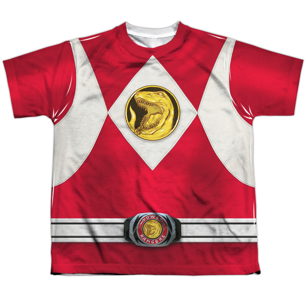 Mighty Morphin Power Rangers Red Ranger Emblem (Front Back Print) Big Boys Shirt