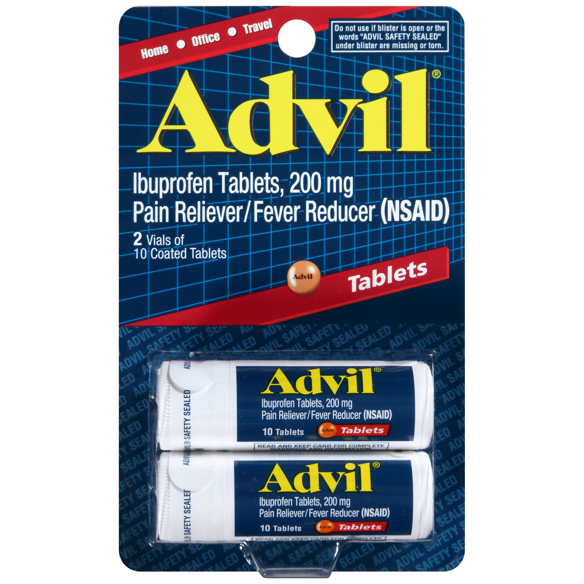 Image of Advil (2 Vials of 10 Tablets) Pain Reliever / Fever Reducer Coated Tablet, 200mg Ibuprofen, Temporary Pain Relief