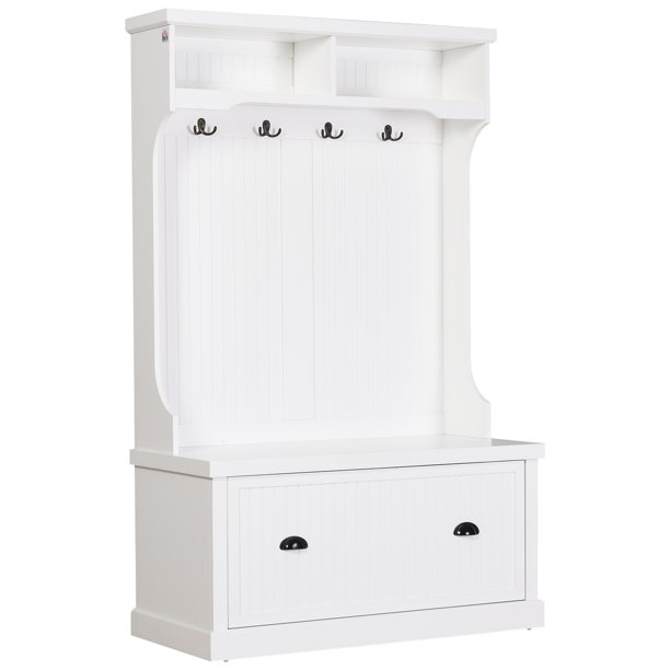 HOMCOM Hall Coat and Shoe Storage Hall Cabinet with Top and Bottom Storage, Metal Double Hooks and Bench