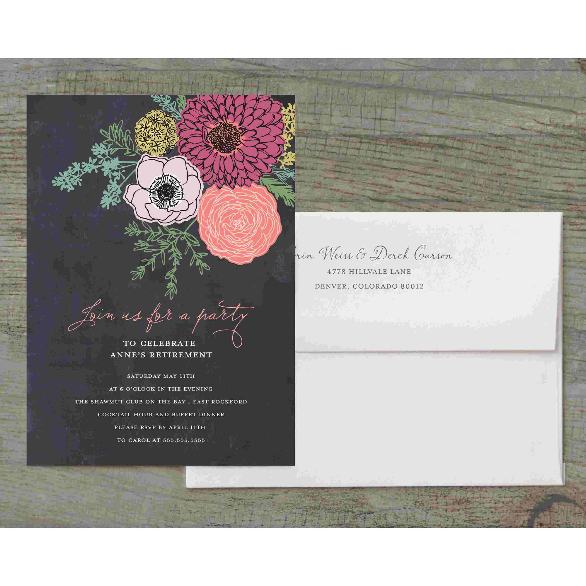 Botanical Posy Deluxe Party Invites