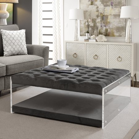 Alfred Grey Velvet Ottoman Cocktail Coffee Table