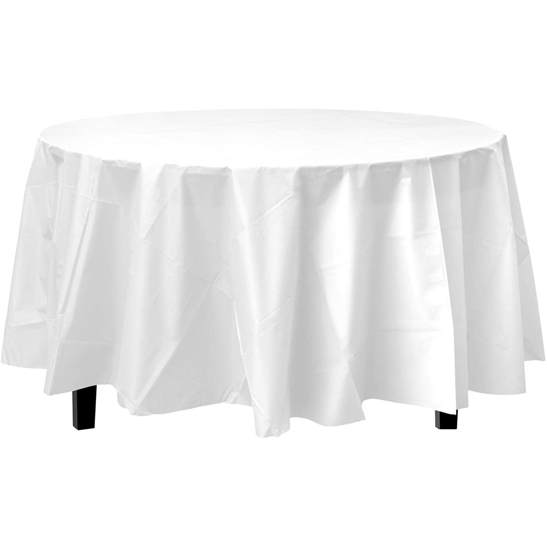 Bulk Premium Plastic Disposable 84 Inch, Round White Tablecloth