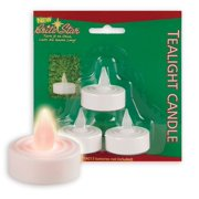 """Pack of 3 Off-White Flameless Yellow Flickering LED Christmas Tea Light Candles 1.5"""""""