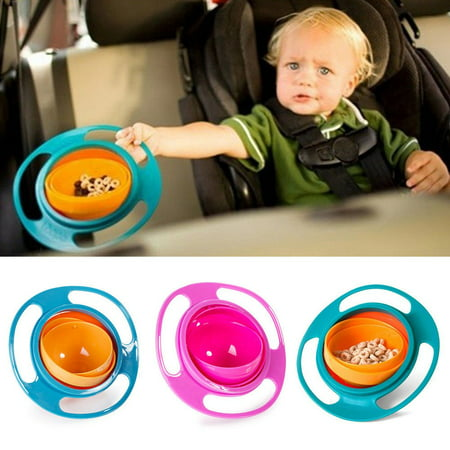 Universal Baby Gyro Bowl Anti Spill Bowl Smooth 361 Degrees Rotation Gyroscopic Bowl For Baby Kids Pink ()