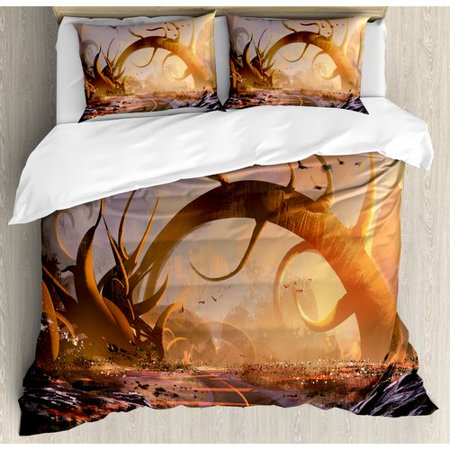 Ambesonne Fantasy Art House Fairy Fiction Design with Mystic Twisted Branches on Highway Sunset Duvet Cover Set