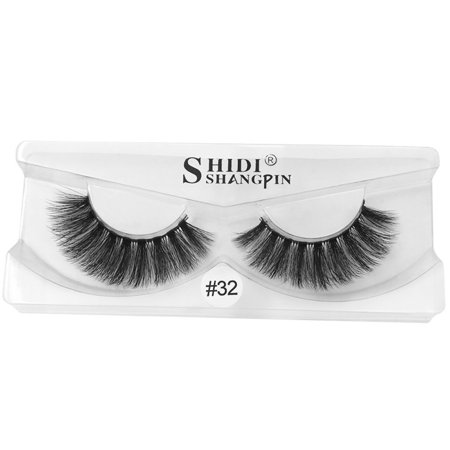 0f2fd2ad0b4 3D Natural Fluffy Soft Mink Glue Adhesive Long Fake Eyelashes Pack Reusable  - Walmart.com