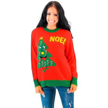 Noel Light Up Smiling Christmas Tree Red Ugly Christmas Sweater](Ugly Christmas Sweater Tree)