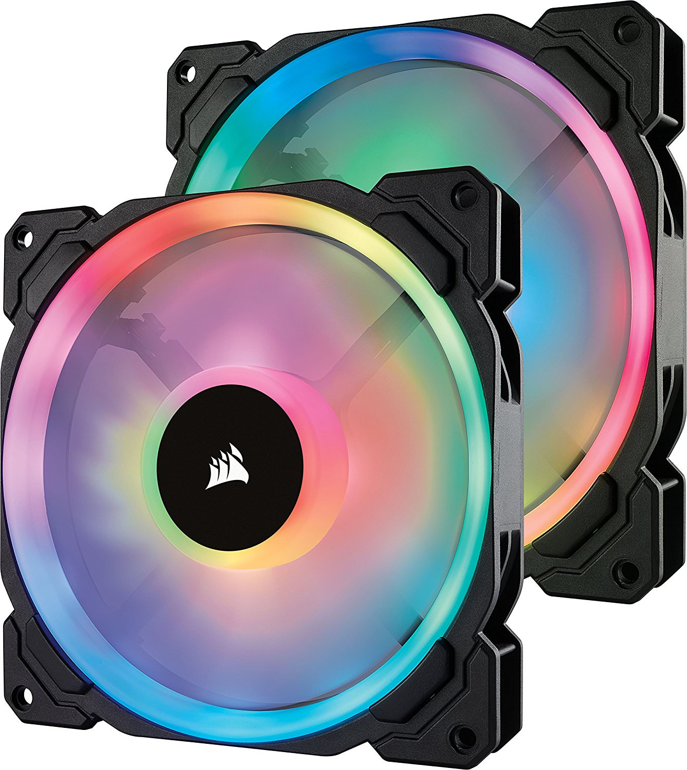 Corsair LL Series LL140 RGB 140mm Dual Light Loop RGB LED PWM Fan 2 Fan Pack with Lighting Node Pro - CO-9050074-WW