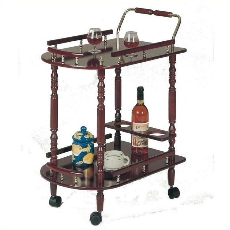 Bowery Hill Serving Cart with Brass Accents in Cherry by Bowery Hill