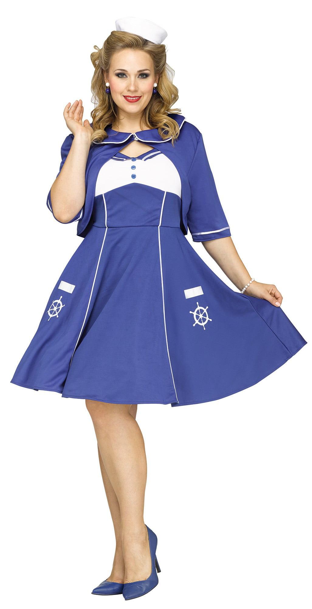 e67eb42904d Sweet Sailin  Sailor Dress Plus Size Women s Costume 40s-50s Retro Swing  1X-2X