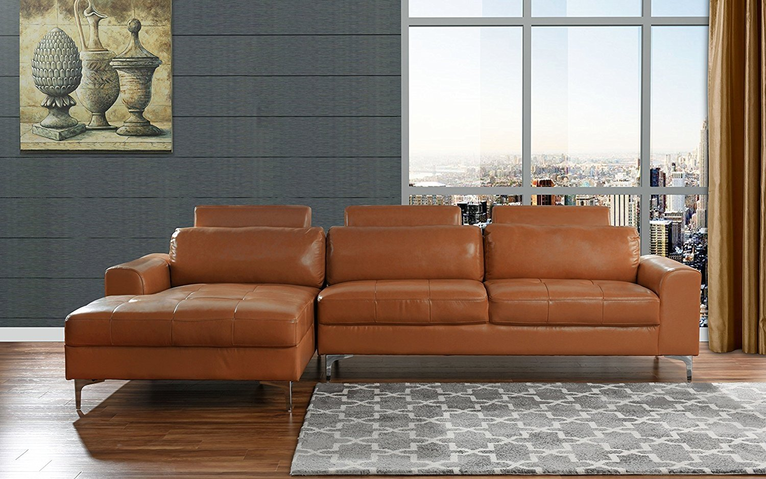 Modern Large Leather Sectional Sofa, L Shape Couch With Extra Wide Chaise  Lounge (Camel)