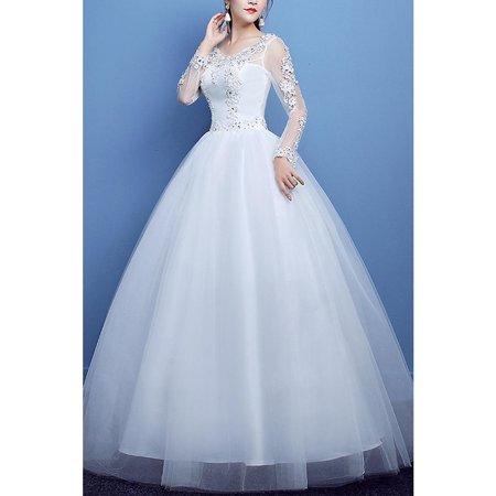 42dd2f1da765 Unomatch - Women Scoop Neck Lace Decorated Wedding Dress - Walmart.com