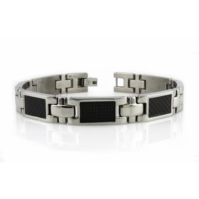 EWC B20104 Titanium Mens Bracelet with Black Carbon Fiber Inlay