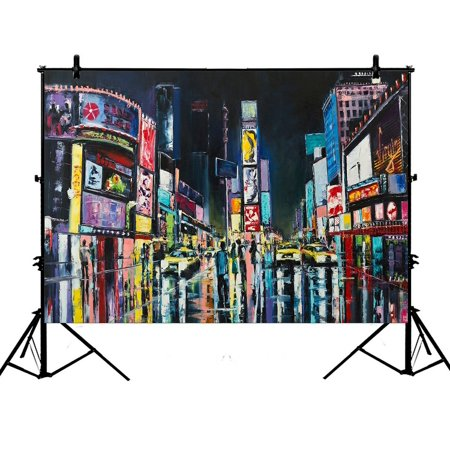 PHFZK 7x5ft Oil Painting Cityscape Backdrops, Night View of New York City Photography Backdrops Polyester Photo Background Studio Props