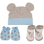 Disney Newborn Baby Hat Cap, Mittens, and Bootie Take Me Home Set, Mickey, Baby Shark, Winnie-the-Pooh Baby Gifts