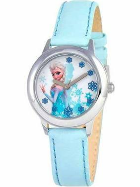 Snow Queen Elsa Girls' Stainless Steel Watch, Light Blue Strap