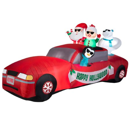 10' Airblown Santa and Mrs Claus Limo Ride Scene Giant Christmas Inflatable - Hollywood Limo