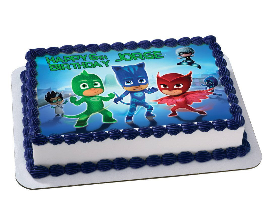PJ Masks Disney Junior Quarter Sheet Edible Photo Birthday Cake Topper Personalized 1 4 Sheetnbsp