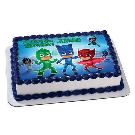 PJ Masks Disney Junior Quarter Sheet Edible Photo Birthday Cake Topper. ~ Personalized! 1/4 Sheet  (Halloween Birthday Sheet Cake Ideas)