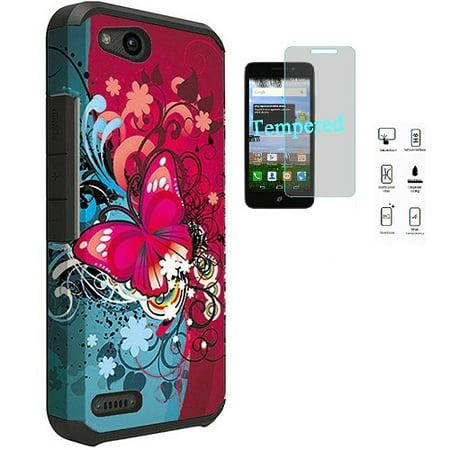 Phone Case for ZTE Zfive G LTE (Z557BL), Zfive C (Z558VL), ZTE Avid 557,  ZTE Avid 4, Rubberized Hard Cover Case + Tempered Glass Screen Protector