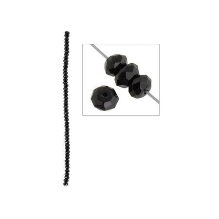 "John Bead 8"" Onyx 6mm Faceted Rondelle Black"