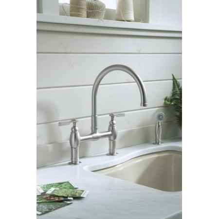 KOHLER K-6131-4-VS Parq Deck-Mount Kitchen Faucet with Spray Vibrant Stainless