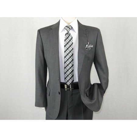 Men's Wool Cashmere Sharkskin Suit Giorgio Cosani Two Button 901 Charcoal Gray Sharkskin Wool Suit
