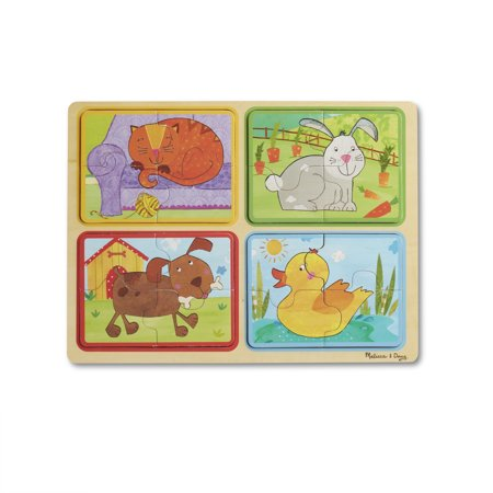 Melissa & Doug Natural Play Wooden Puzzle: Playful Pals (Four 4-Piece Animal Puzzles, Great Gift for Girls and Boys – Best for 2, 3, and 4 Year