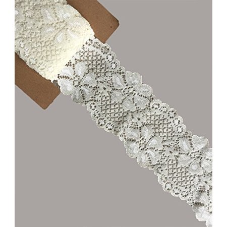 LACE REALM 25a3A0 Yards Stretch Floral Pattern Lace Ribbon Trim Lace for Headbands Garters Decorating Floral Designing & Crafts (Ivory) - image 1 of 1