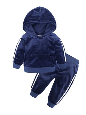 2PCS Toddler Baby Girl Boy Winter Tracksuit Velvet Hooded Set Sweatshirt Tops+ Pants Warm Outfits 1-5 Y