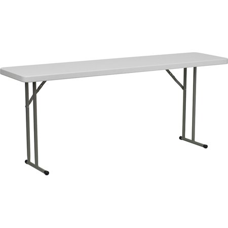 6-Foot Granite White Plastic Folding Training and Event Table