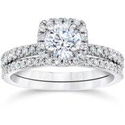 Bliss 10k White Gold 5/8ct TDW Engagement Cushion Halo Wedding Ring Set