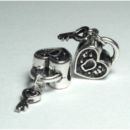 New Cute Beads Silver Charm - Silver Bead Spacer Charm KEY to My Heart Fits Pandora Chamilia Troll Style Bracelet