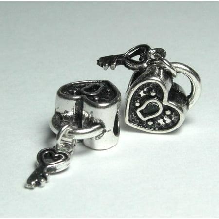 - Silver Bead Spacer Charm KEY to My Heart Fits Pandora Chamilia Troll Style Bracelet