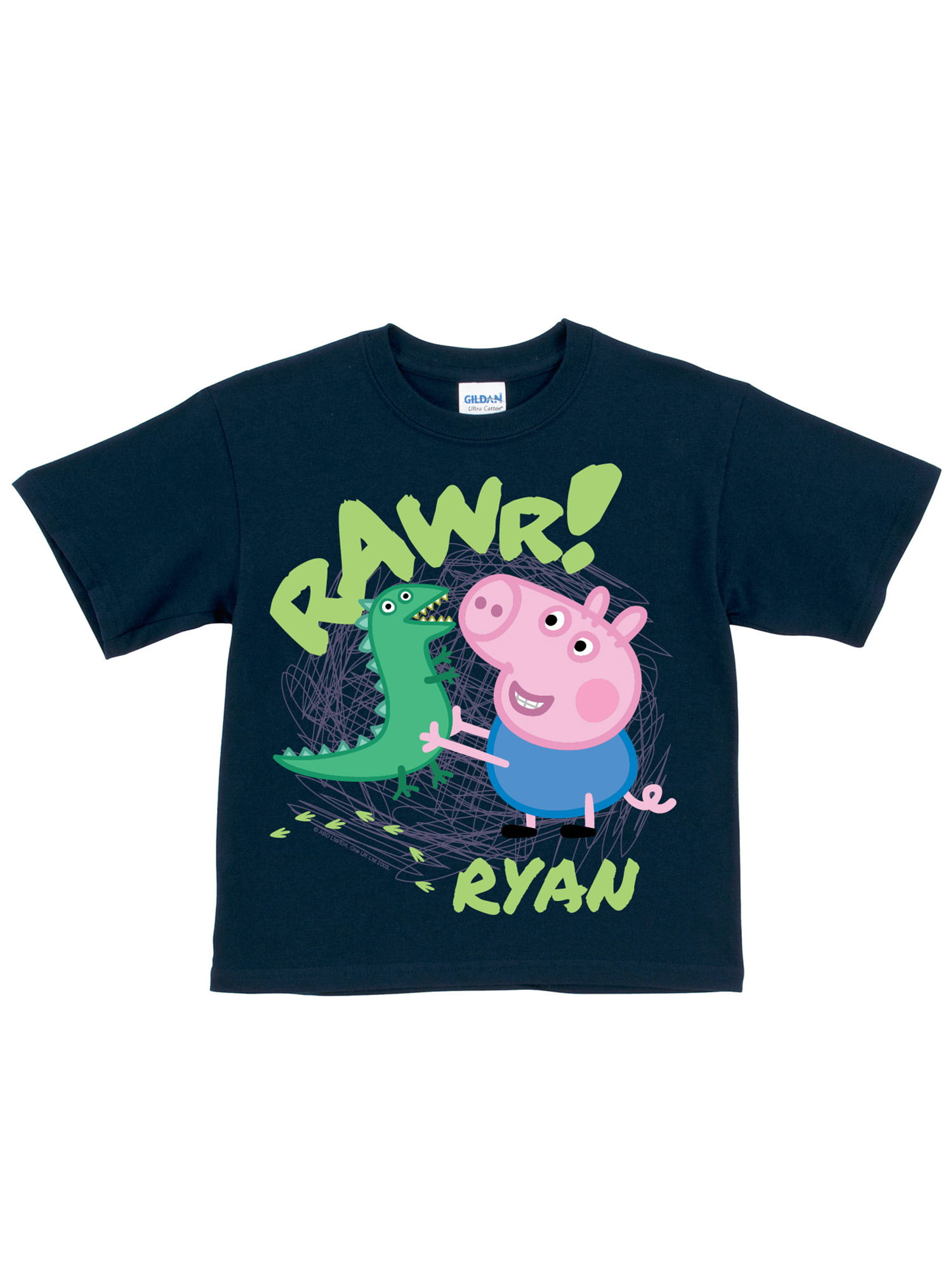 e101c0a69bc4d Personalized Peppa Pig George Rawr Navy Boys' T-Shirt