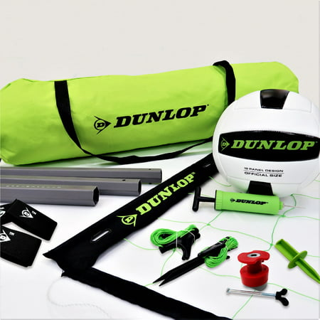 Dunlop Quick Setup Competitive Volleyball Set with Carry Bag, Double Guylines System and Net Tension Adjustment
