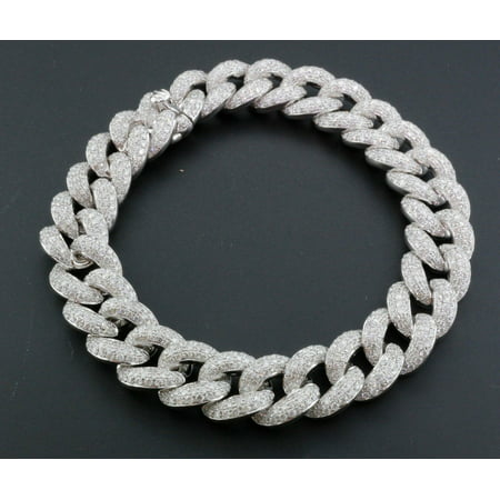 Miami Cuban Diamond Bracelet Mens 14k White Gold 8 Pave Round Cut 10 56