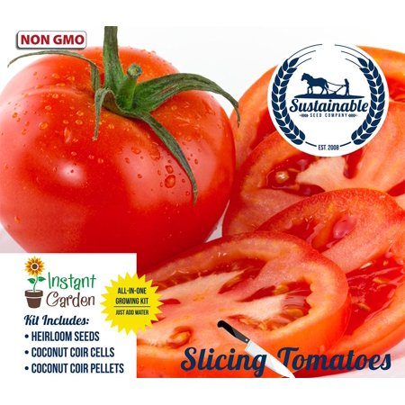 Slicing Tomato 6 Pack Seed Starter Kit, Non GMO Heirloom Slicing Tomato Seeds with Coconut Fiber Grow Kit ()