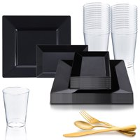 Disposable Plastic Party Dinnerware Set Square Rectangle (20-Person Package)