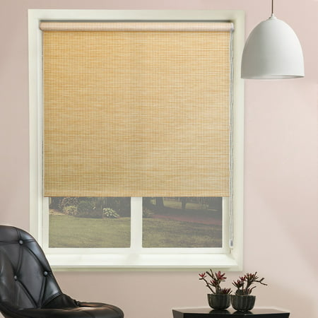 Chicology Continuous Loop Beaded Chain Roller Shade, Lattice - Natural Woven, Privacy - Lattice Cream, 31
