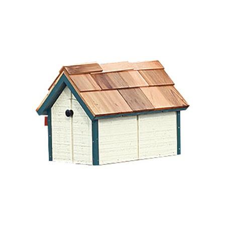 Furniture Barn USA™ Pressure Treated Pine White with Dark Blue Trim Painted (Barn Mailbox)