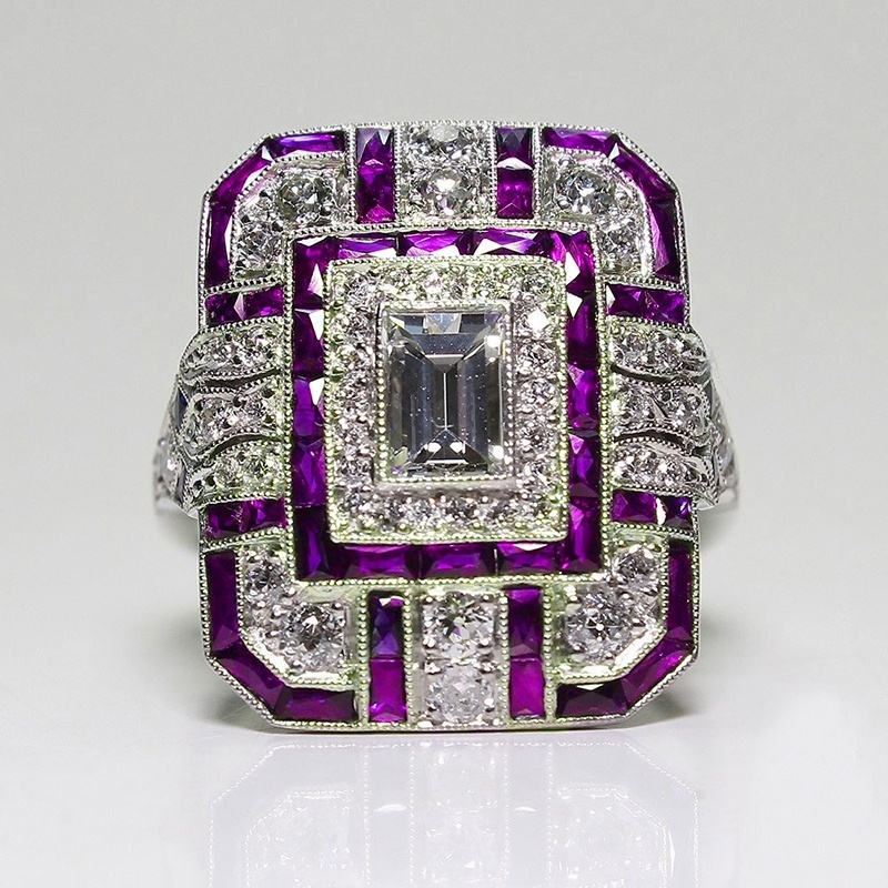 Art Deco Vintage 925 Sterling Silver Amethyst Cocktail Ring White Sapphire P