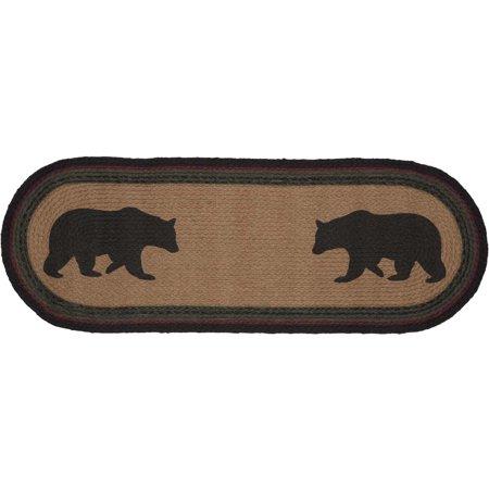 Dark Tan Rustic & Lodge Tabletop Kitchen Laramie Bear Jute Stenciled Nature Print Oval 13x36 Runner