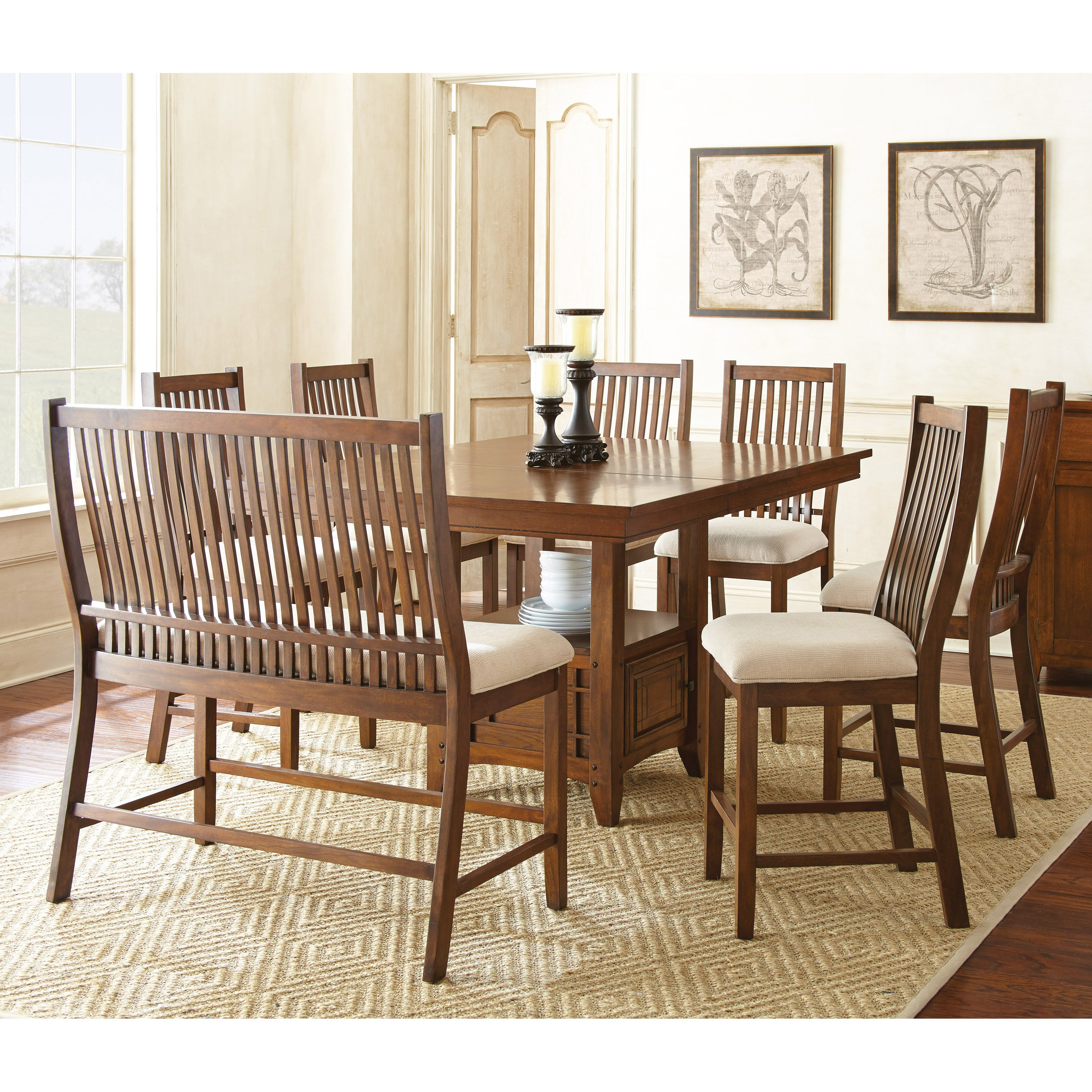 Steve Silver 8 Piece Kayan Counter Height Dining Table Set