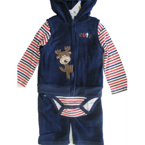 Buster Brown Baby Boys Blue Red Striped Hooded Vest Onesie 3 Pc Pants Set 0-9M