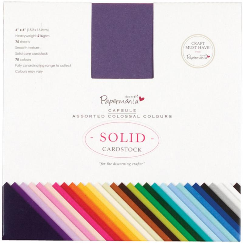 "Papermania Premium Smooth Solid Cardstock Pack, 6"" x 6"", 75pk, Colossal"