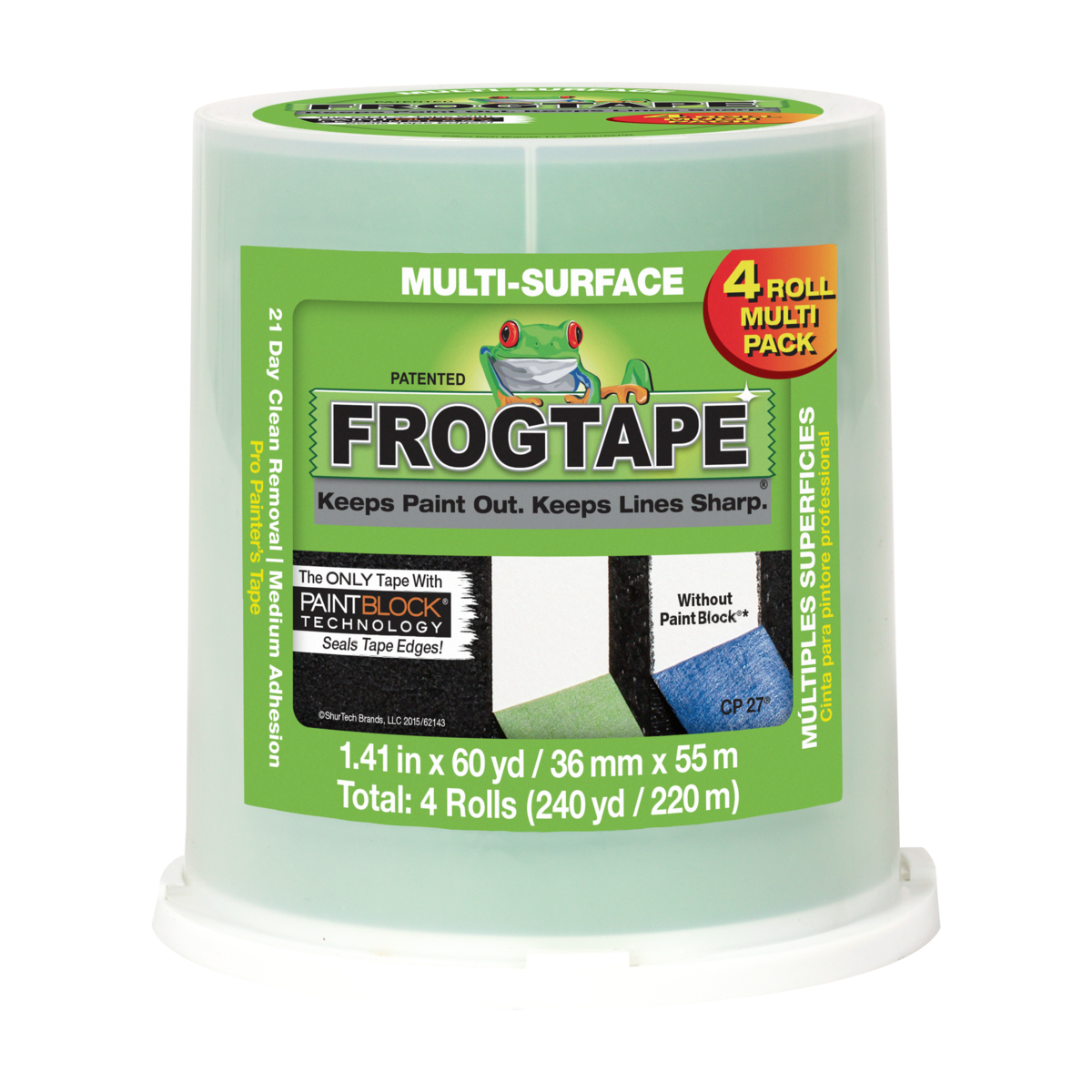 FrogTape Multi-Surface Painter's Tape - Green, 1.41 in. x 60 yd., 4-Pack